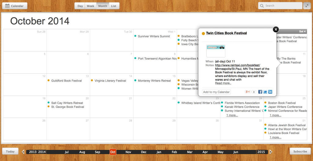 October 2014 WC Calendar 1024x527 Four Ways To Win at the Book Selling Box Office!