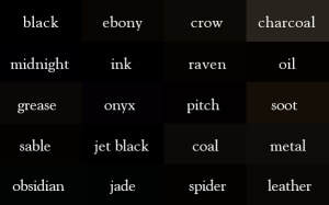 black 300x187 Writer Tip: Create Your Own Imagery Thesaurus