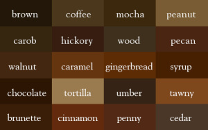 brown 300x187 Writer Tip: Create Your Own Imagery Thesaurus